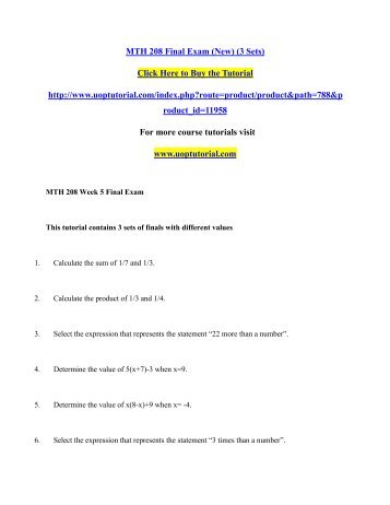 MTH 208 Final Exam (New) (3 Sets)/Uoptutorial
