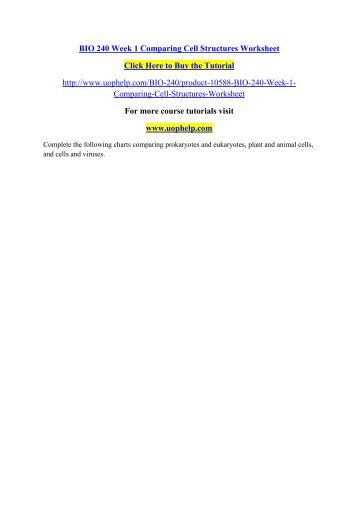 BIO 240 WEEK 1 COMPARING CELL STRUCTURES WORKSHEET