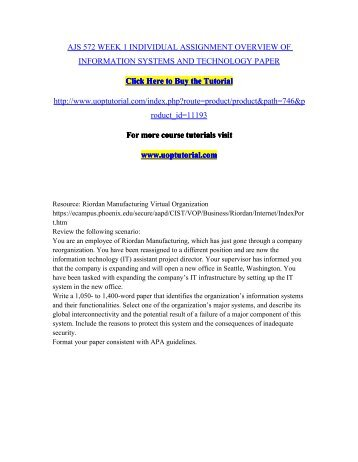 ajs 572 week 3 individual assignment information systems