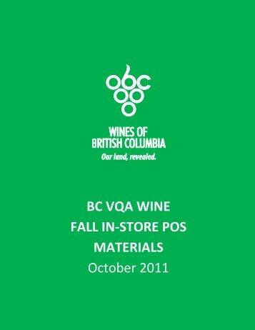 BC VQA WINE FALL IN‐STORE POS MATERIALS October 2011