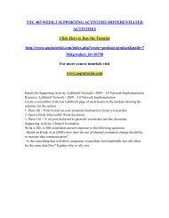 NTC 405 WEEK 3 SUPPORTING ACTIVITIES DIFFERENTIATED ACTIVITIES/Uoptutorial
