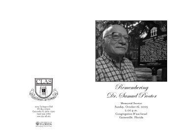 Remembering Dr Samuel Proctor