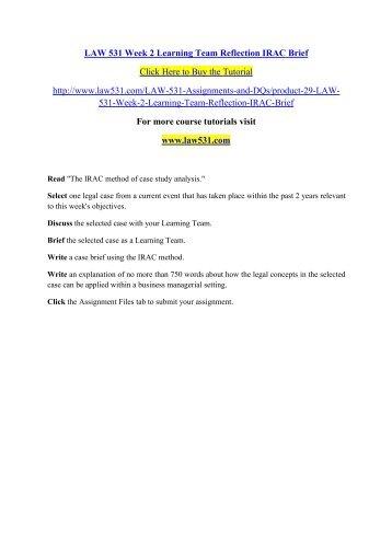 law 531 irac brief week 2