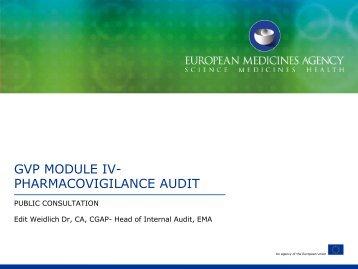 GVP MODULE IV- PHARMACOVIGILANCE AUDIT