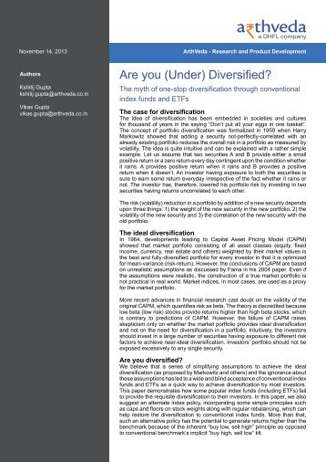 Are you (Under) Diversified?