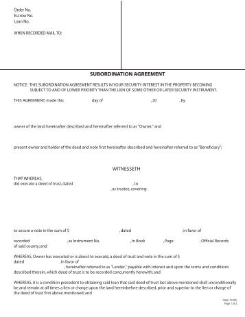 Sample Subordination Agreement Template Land Contract Subordination