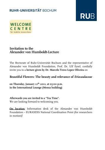 Invitation to the Alexander von Humboldt-Lecture - International ...