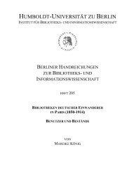 bibliotheken deutscher einwanderer - Humboldt-Universität zu Berlin