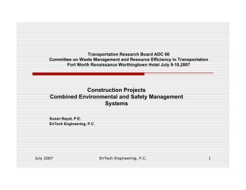 Construction Projects Combined Environmental and Safety Management Systems