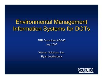 Environmental Management Information Systems for DOTs