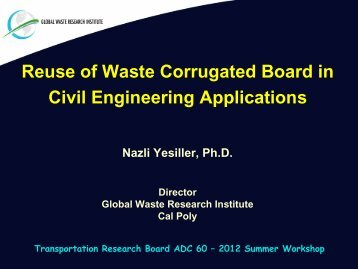 Reuse of Waste Corrugated Board in Civil Engineering Applications