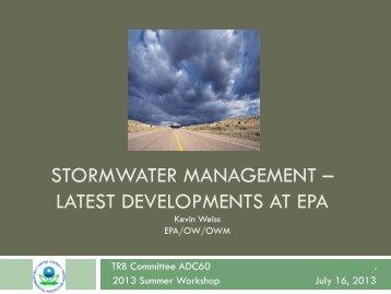 STORMWATER MANAGEMENT – LATEST DEVELOPMENTS AT EPA