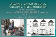 ORGANIC VAPOR IN SOILS Concerns Risks Mitigation