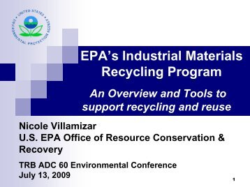 EPA's Industrial Materials Recycling Program