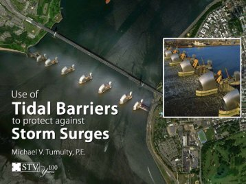 London's tidal barrier across the Thames protects the city from flooding