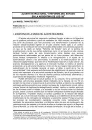 AJUSTE ESTRUCTURAL Y REFORMA DEL ESTADO EN LA ARGENTINA DE LOS '90