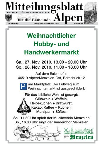 Weihnachtlicher Hobby- und Handwerkermarkt - Gemeinde Alpen