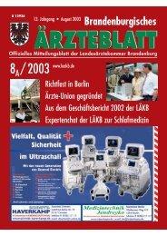 Brandenburgisches Ärzteblatt - Landesärztekammer Brandenburg