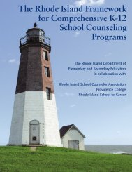 The Rhode Island Framework for Comprehensive K-12 School Counseling Programs