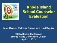 Rhode Island School Counselor Evaluation