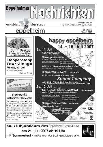 am 21. Juli 2007 ab 19 Uhr mit Sommerfest - Eppelheim