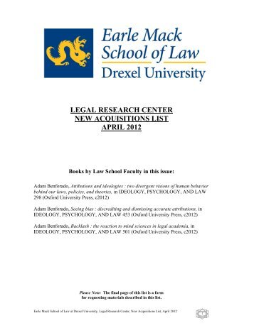 LEGAL RESEARCH CENTER NEW ACQUISITIONS LIST APRIL 2012