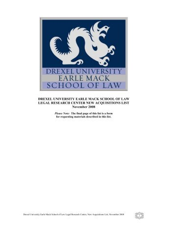 Drexel University Earle Mack School of Law Legal Research Center