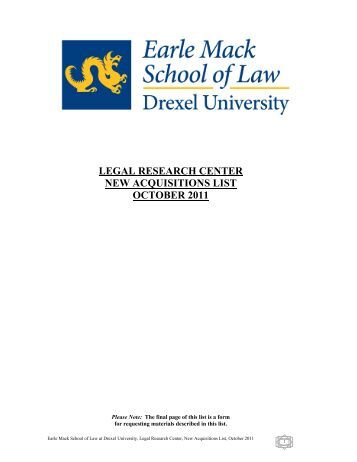 LEGAL RESEARCH CENTER NEW ACQUISITIONS LIST OCTOBER 2011