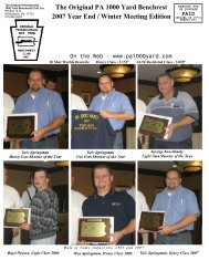 The Original PA 1000 Yard Benchrest 2007 Year End / Winter Meeting Edition