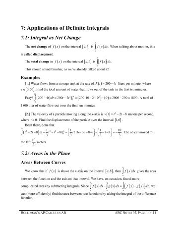 7 Applications of Definite Integrals ( ) ( )