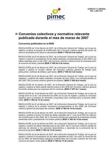 Convenios colectivos y normativa relevante publicada ... - Pimec