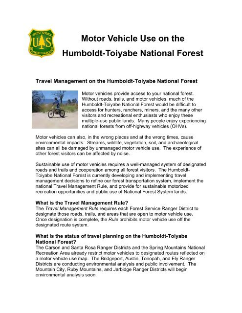 Motor Vehicle Use on the Humboldt-Toiyabe National Forest