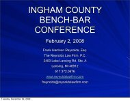 INGHAM COUNTY BENCH-BAR CONFERENCE