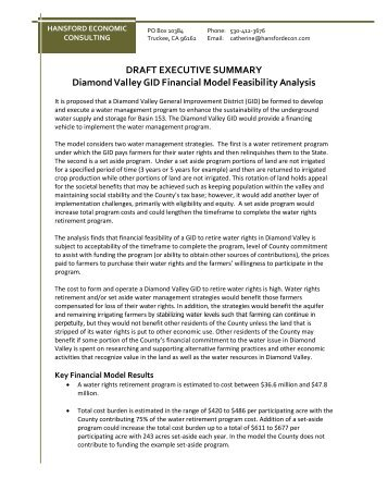 DRAFT EXECUTIVE SUMMARY Diamond Valley GID Financial Model Feasibility Analysis