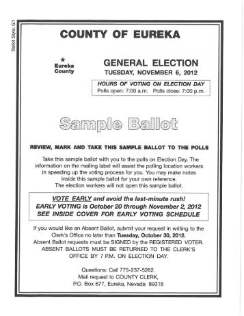 2012 General Election Sample Ballot - Eureka County, Nevada