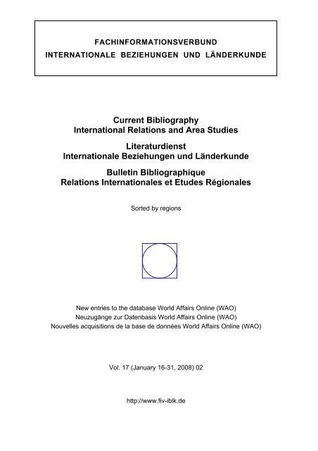 Wao World Affairs Online Regional Bibliography 2008