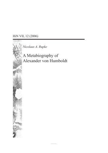 A Metabiography of Alexander von Humboldt