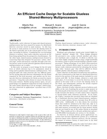 An Efficient Cache Design for Scalable Glueless ... - ResearchGate
