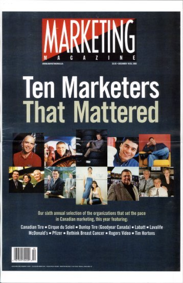 Ten Marketers That Mattered. - Rethink Breast Cancer