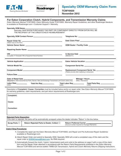 Warranty Repair Form Rodentsolutions