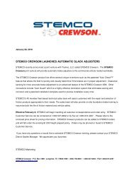 STEMCO CREWSON LAUNCHES AUTOMATIC SLACK ADJUSTERS