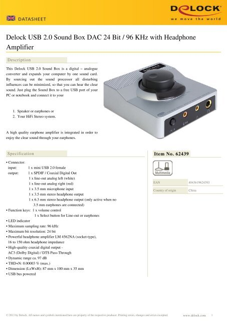 Delock USB 2 0 Sound Box DAC 24 Bit / 96 KHz with Headphone Amplifier