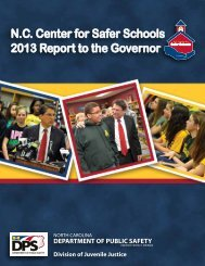 N.C Center for Safer Schools 2013 Report to the Governor