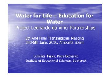 Water for Life – Education for Water