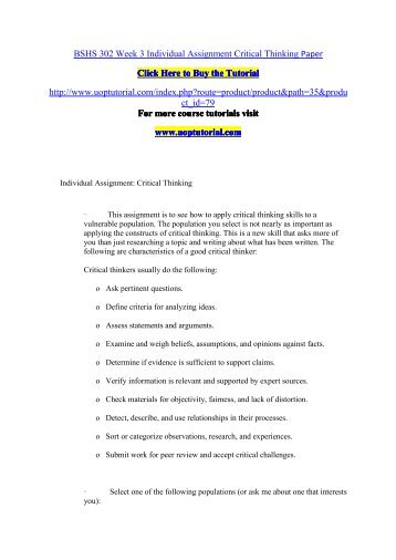BSHS 302 Week 3 Individual Assignment Critical Thinking Paper/Uoptutorial