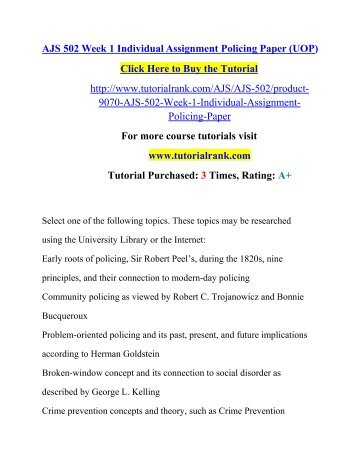 AJS 502 Week 1 Individual Assignment Policing Paper (UOP)/ Tutorialrank