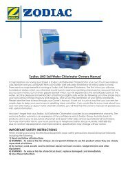 Zodiac LM3 Salt Water Chlorinator Owners Manual IMPORTANT SAFETY INSTRUCTIONS
