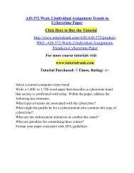 AJS 572 Week 2 Individual Assignment Trends in Cybercrime Paper/ Tutorialrank
