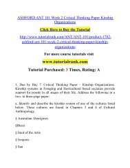ASHFORD ANT 101 Week 2 Critical Thinking Paper Kinship Organizations/ Tutorialrank