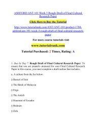 ASHFORD ANT 101 Week 3 Rough Draft of Final Cultural Research Paper/ Tutorialrank